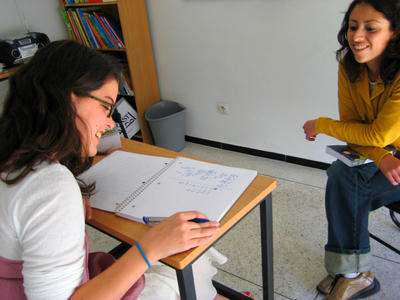 A Projects Abroad volunteer busy with an Arabic lesson in Morocco