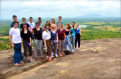 Projects Abroad volunteer group at the top of Pidurangala Rock