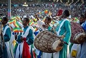 Locals celebrate and play music at a local celebration in Ethiopia