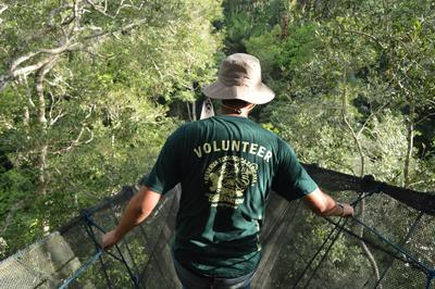 Projects Abroad volunteer explores the Amazon Rainforest during his Conservation Project in Peru, South America.