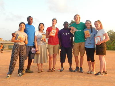 Volunteers in Ghana during 'Soccer Pitch Reading'