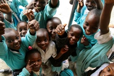 Children at a local school in Kenya