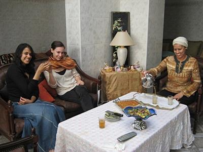 Volunteer with host family in Rabat