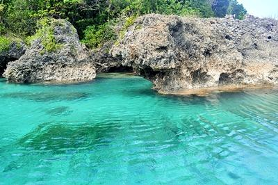 Scenic view of pristine waters at one of beaches in the Philippines, Asia