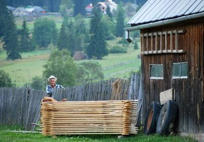 An old Romanian man in a quiet village