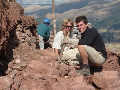 Volunteers working at the Inca site in Peru, South America