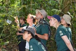 Conservation volunteers inspect edemic plant species at a placement in Peru