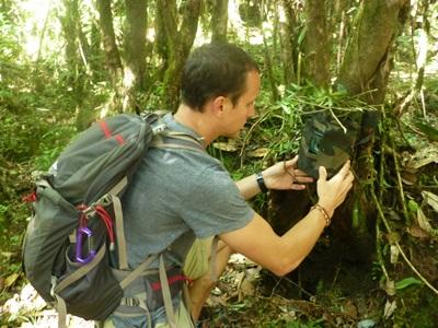 Volunteer sets a camera trap in Himalayas, Nepal