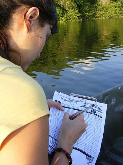 Volunteer conducts a wildlife survey in a lagoon, Mexico