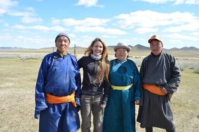 A volunteer with her Nomadic host family, Mongolia