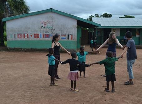 Projects Abroad volunteers interacting with children in Ghana, Africa