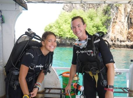Conservation volunteers prepare to dive and conduct fish surveys