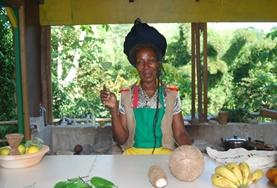 A Jamaican woman from a Rastafarian community where volunteers from our cultural immersion Grown-up Special live.