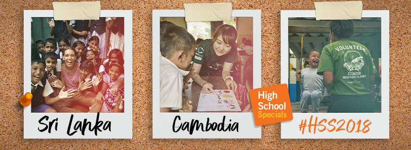 Volunteers in Sri Lanka and Cambodia work at their placements
