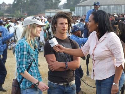Volunteers are interviewed by the media in Ethiopia