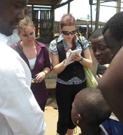 Human Rights volunteers in Ghana interview children