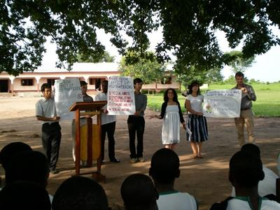 Volunteers run a human rights education programme in Ghana