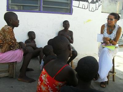 Volunteers assist with an outreach programme in Togo