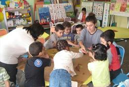 A Care and Community volunteer interacts with children at her placement in Morocco