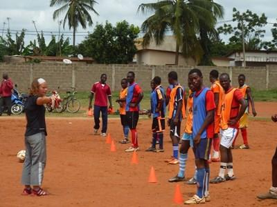 Volunteer football coaching in Togo