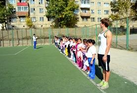 Children line up for sporting activities at a placement in Mongolia