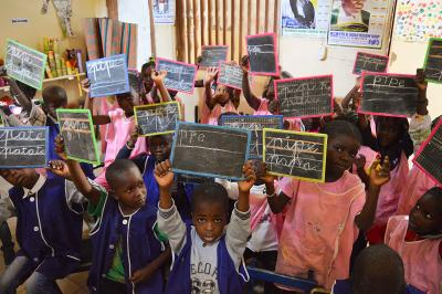 Young children in a classroom at a school in Saint Louis, Senegal