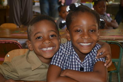 Jamaican children sitting in their classroom