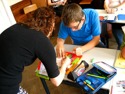 A Projects Abroad volunteer teaching French in Romania