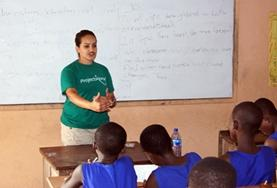 A Teaching volunteer hosts a lesson for students at a placement in Madagascar