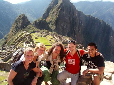 A group of volunteers having fun in their leisure time in Peru