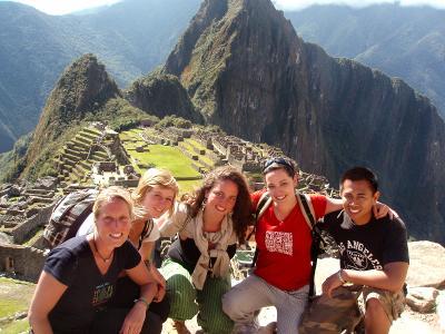A group of volunteers having fun in their leisure time in Peru